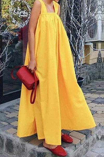 Bohemian Sleeveless Spaghetti Strap Pure Colour Maxi Dress