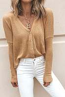 V Neck  Single Breasted  Plain Sweaters