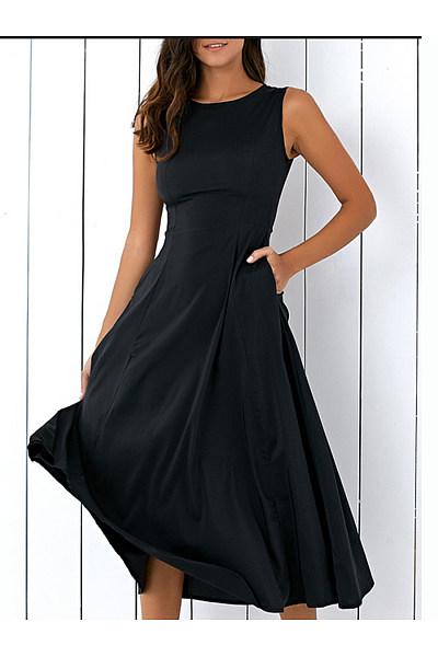 Round Neck  Pleated Bodice Maxi Dress
