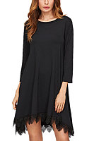 Round Neck  Asymmetric Hem Decorative Lace  Patchwork Plain  Three Quarter Sleeve Casual Dresses