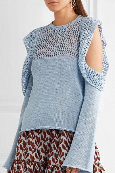 Round Neck  Flounce  Crochet Sweaters