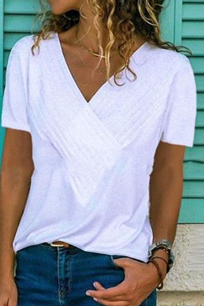 V Neck Short Sleeve Plain Casual T-Shirts