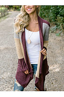 Above Knee Autumn Patchwork Cardigans