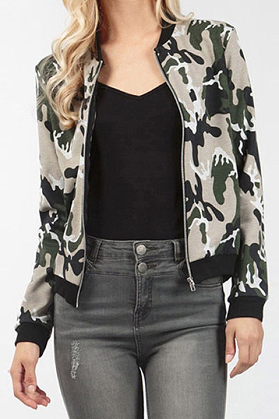 Band Collar  Snap Front Zipper  Camouflage Jackets