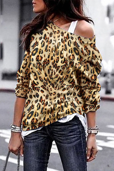 Fashion Leopard Printed Long Sleeved T-Shirts