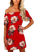 Off Shoulder  Floral Printed  Short Sleeve Casual Dresses