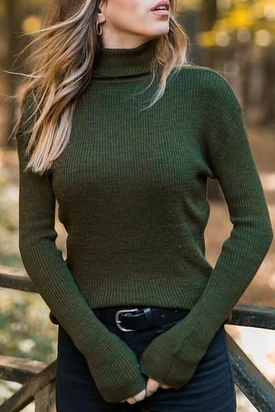 Turtle Neck Long Sleeve Knitting Sweaters