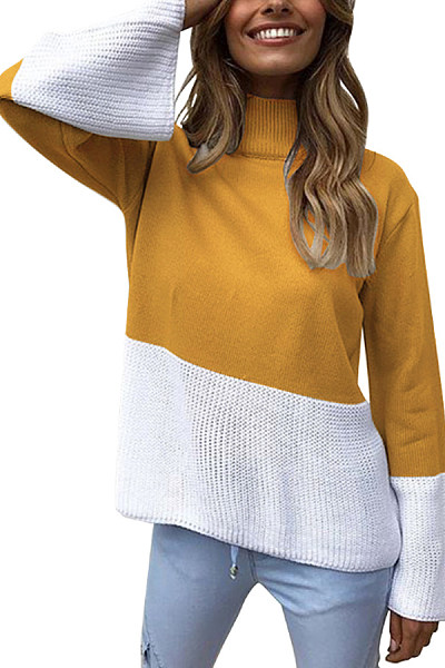 High Neck  Loose Fitting  Patchwork Sweaters