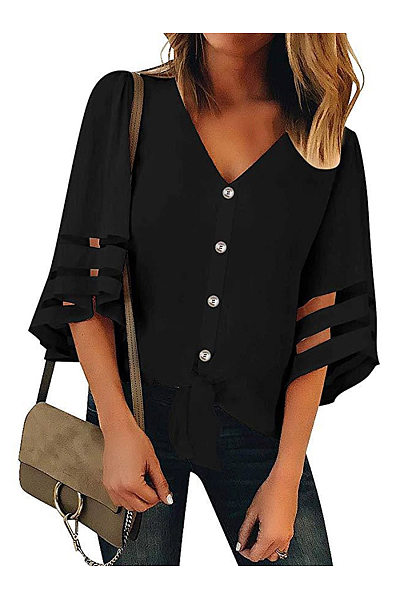 34a13451ef7c45 V Neck Half Sleeve Button Chic Blouses Only $20.00 - cicilookshop.com