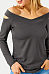 Hollow Out Off Shoulder Blouse Long Sleeve V Neck T-Shirts