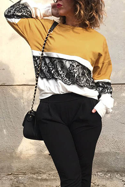 Round Neck  Decorative Lace  Color Block  Sweatshirts