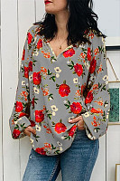 Casual V Neck Printed Shirt