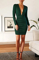 V Neck Long Sleeve Pure Colour Bodycon Dress