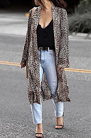 Casual Long Sleeve Leopard Printed Cardigan