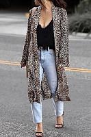 Casual Long Sleeve Leopard Printed Cardigan