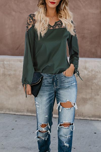 V Neck  Decorative Lace  Plain T-Shirts