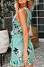 Spaghetti Strap  Asymmetric Hem  Belt  Floral Printed  Sleeveless Casual Dresses
