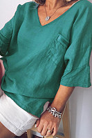 V Neck Pockets Half Sleeve Plain T-Shirts