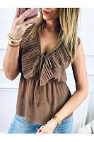 Women Sexy V Neck Frenulum Lotus Leaf Edge Sleeveless Shirt