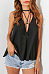 Deep V Neck  Lace Up  Plain Vests