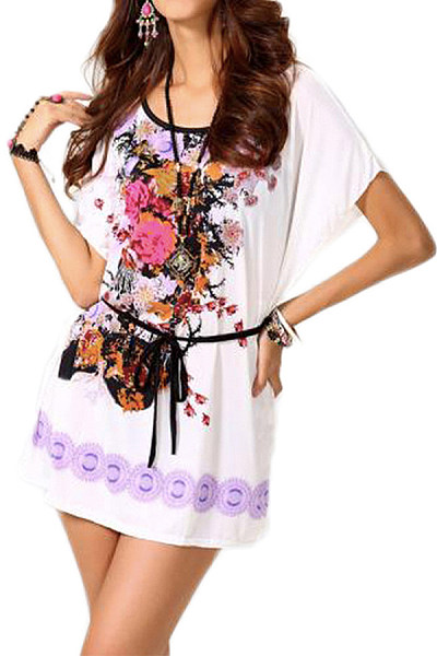 Casual Round Neck Printed Colour Batwing Sleeve Loose Dress