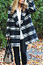 Fold Over Collar  Checkered Trench Coat
