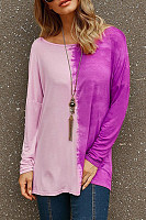 Casual Round Neck Long Sleeve Gradient T-Shirts