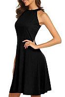 Halter  Plain  Sleeveless Skater Dresses
