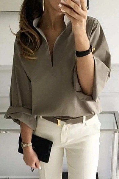 Casual Pure Color Long Sleeve Band Collar Shirt