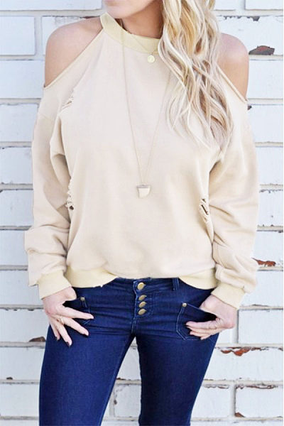 Open Shoulder Broken Holes Plain Sweatshirt