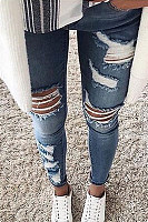 Fashion Casual Slim Ripped Versus Skinny Jeans