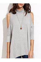 Spring Summer  Cotton  Women  Open Shoulder  Plain Short Sleeve T-Shirts