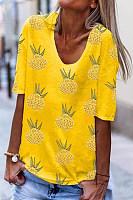 Casual Pineapple Print Crew Neck Short Sleeve T-Shirt