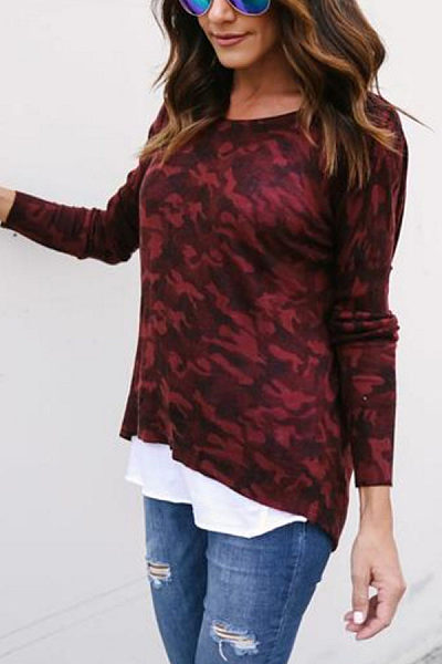 Round Neck  Asymmetric Hem Zipper  Camouflage T-Shirts
