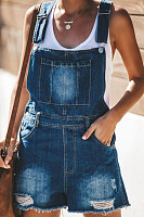 Plain  Sleeveless  Basic Denim Overalls