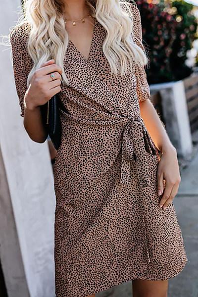 Commuting V Neck Halflong Sleeve Leopard Print Belted Dress