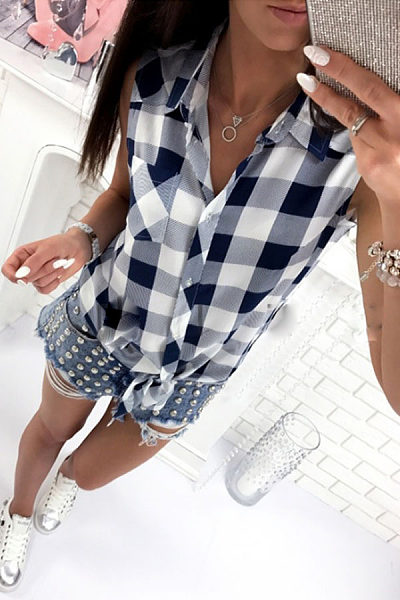 Turn Down Collar  Single Breasted  Gingham  Blouses
