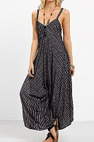 Spaghetti Strap  Loose Fitting  Striped  Sleeveless Jumpsuits