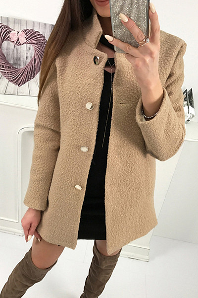 Band Collar  Single Breasted  Plain  Teddy Outerwear