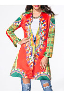 Lapel Single Button Printed Coat