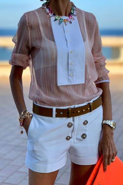 Casual Round Neck Single-Breasted Stitching Chiffon Long-Sleeved Shirt