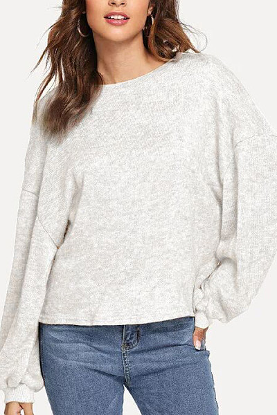 Round Neck  Loose Fitting  Plain Sweaters