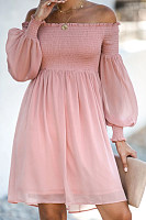 Casual Pure Colro Word Collar Skater Dress