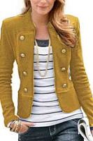Band Collar  Double Breasted  Plain Outerwear