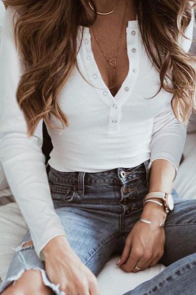 Fashion Casual Button Collar Long Sleeve Bottoming T-Shirt