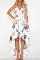 Spaghetti Strap  Asymmetric Hem Backless  Floral Printed  Sleeveless Maxi Dresses