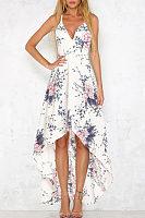 Spaghetti Strap  Asymmetric Hem Backless  Floral Printed  Sleeveless Maxi Dresses