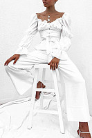 Square Collar Puff Sleeve Stitching Top Wide Leg Pants Suit
