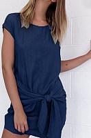 Round Neck  Asymmetric Hem  Plain  Batwing Sleeve  Extra Short Sleeve Casual Dresses