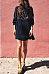 High Neck  Patchwork Plain  Long Sleeve Casual Dresses